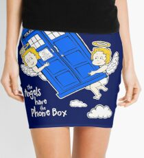 The Angels have the Phone Box - Version 4 (for dark tees / white outlines) Mini Skirt