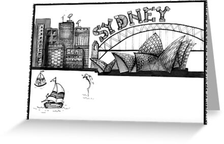 Sydney in tangles tshirts and cards by Jenny Wood