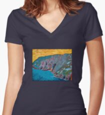 Slieve League, Donegal Women's Fitted V-Neck T-Shirt
