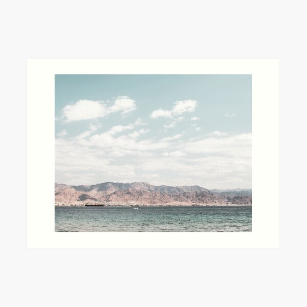 Desert mountains print, Eilat Israel landscape, desert, blue sky, red sea beach, white clouds Art Print