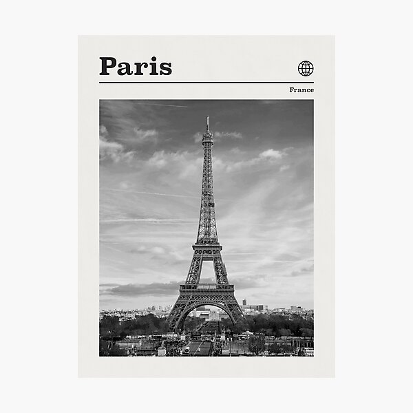 Paris Travel Poster Vintage Black and White • Paris France Retro Travel Poster Minimalist  • Paris Eiffel Tower Travel Poster Photographic Print