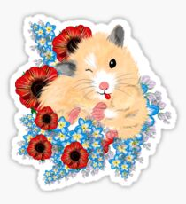 Cute Golden Syrian Hamster by LeahG Sticker