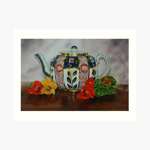 Old Teapot with Nasturtiums - oil painting Art Print