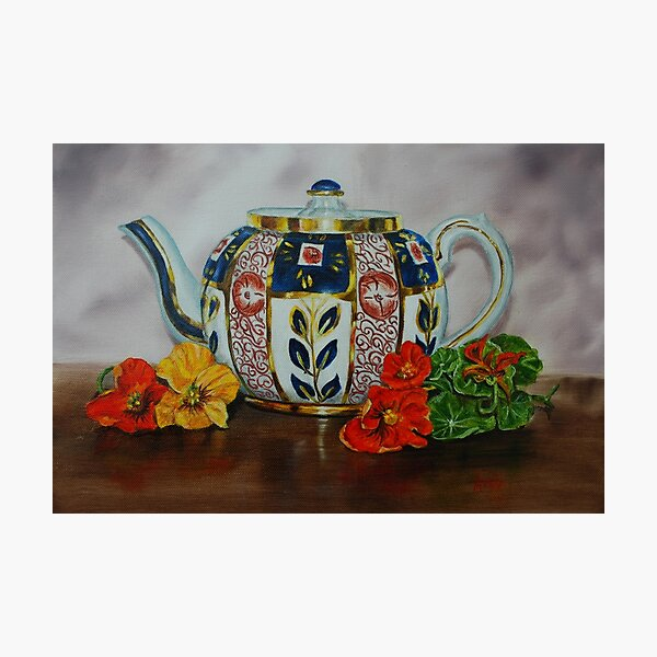 Old Teapot with Nasturtiums - oil painting Photographic Print