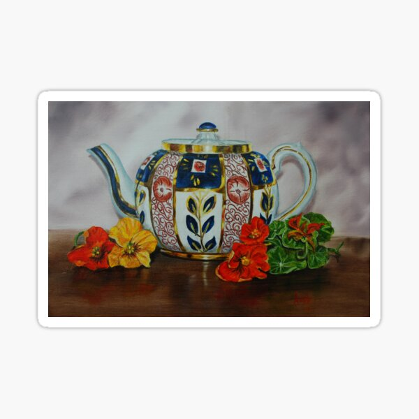 Old Teapot with Nasturtiums - oil painting Sticker