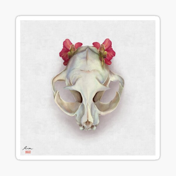 Cat skull and Itoh Peony Julia Rose Sticker