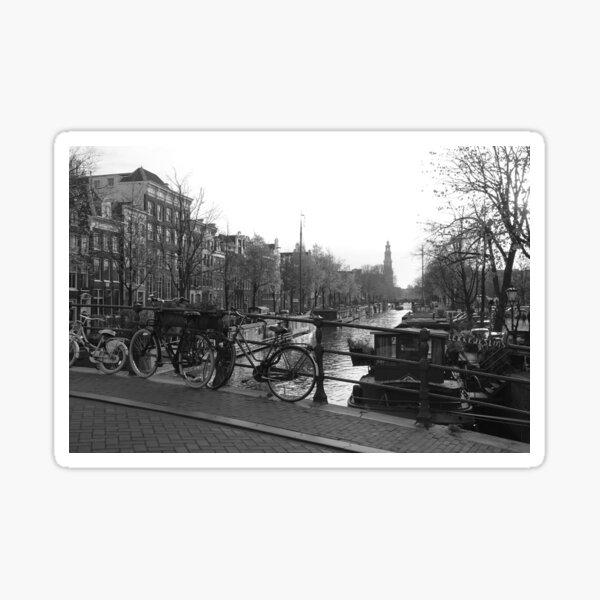 Amsterdam's Brouwersgracht · Black and White Photo Sticker