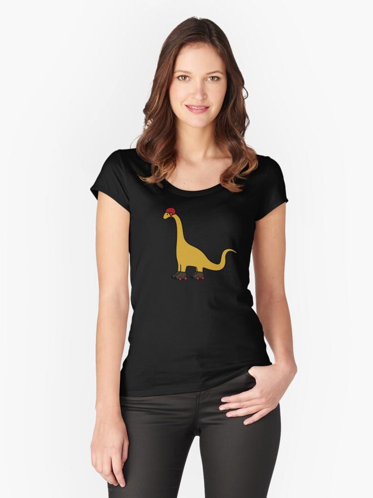 Roller Derby Brachiosaurus Women's Fitted Scoop T-Shirt Front