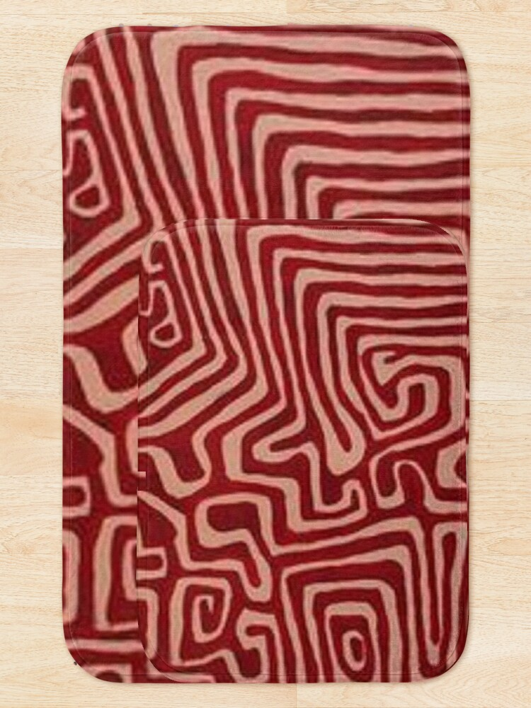 Alternate view of red and pink swirl pattern Bath Mat