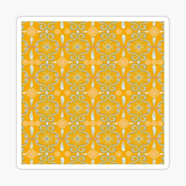 Rococo yellow damask Sticker