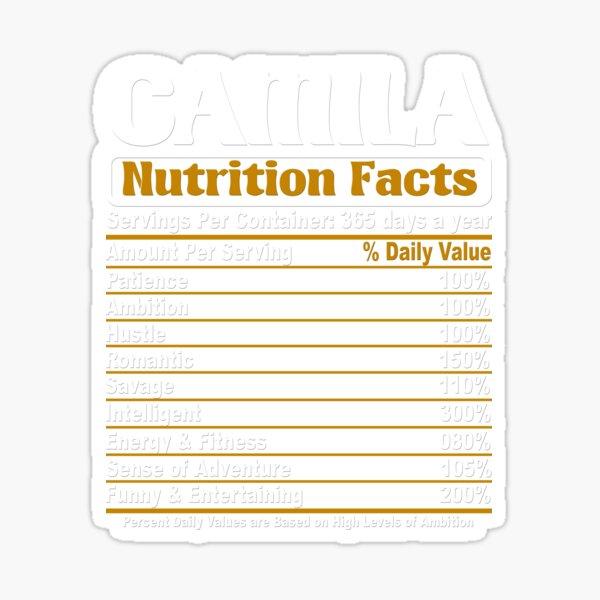 Datos nutricionales de Camila Pegatina