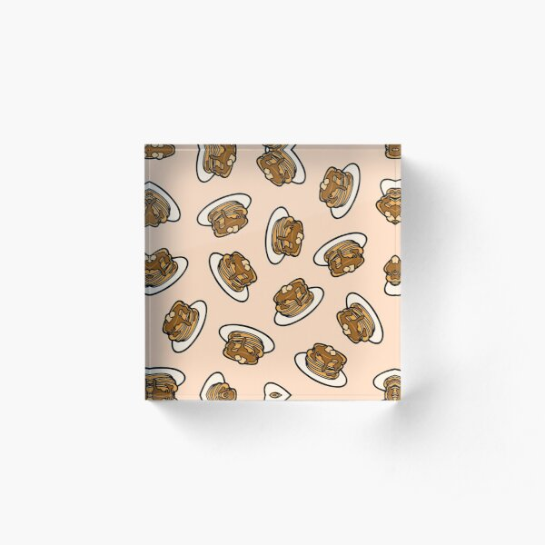 Pancakes with Butter and Syrup Pattern on Pale Peach Acrylic Block