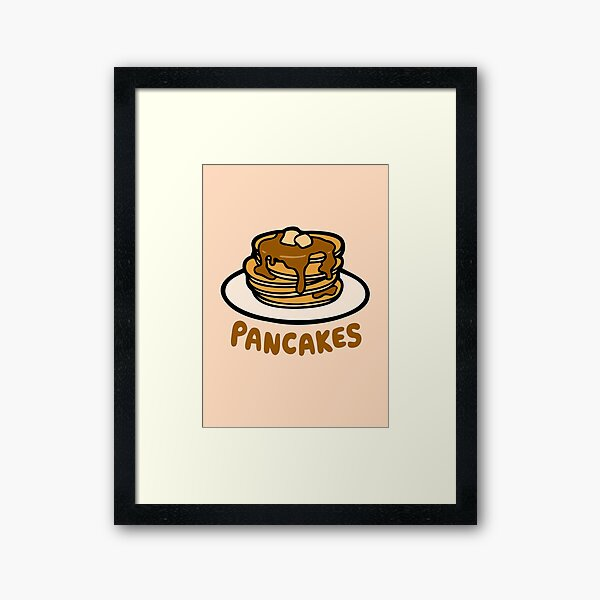 Pancakes with Butter and Syrup Pattern on Pale Peach Framed Art Print