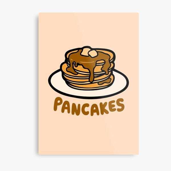Pancakes with Butter and Syrup Pattern on Pale Peach Metal Print