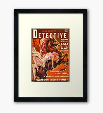 """Saucy Detective"" Vintage Spy Pulp Magazine Cover Framed Print"