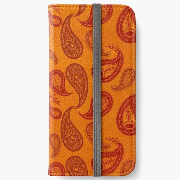 indien design orange Étui portefeuille iPhone