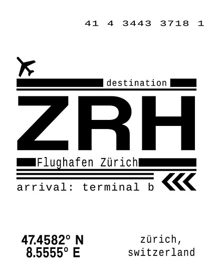 ZRH Zurich Airport Call Letters Print by Leah Biernacki