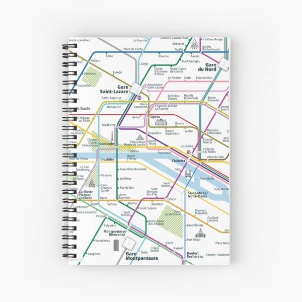 Paris City Rail Map Square Spiral Notebook