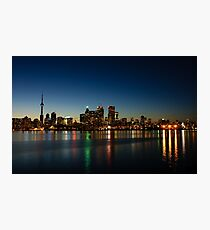 Blue Hour - Toronto's Dazzling Skyline Reflecting in Lake Ontario Photographic Print