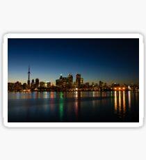Blue Hour - Toronto's Dazzling Skyline Reflecting in Lake Ontario Sticker