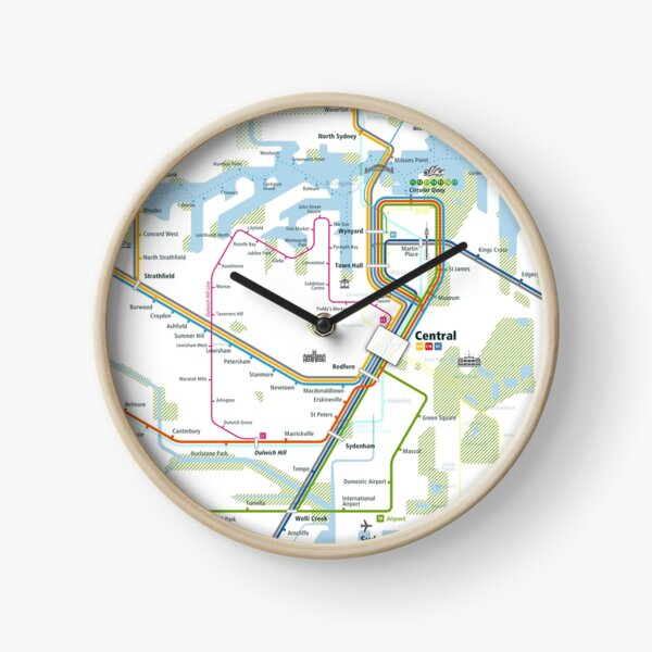 Sydney City Rail Map Square Clock