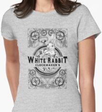 the white rabbit, Alice in Wonderland, clockmaker's, engraving, Women's Fitted T-Shirt