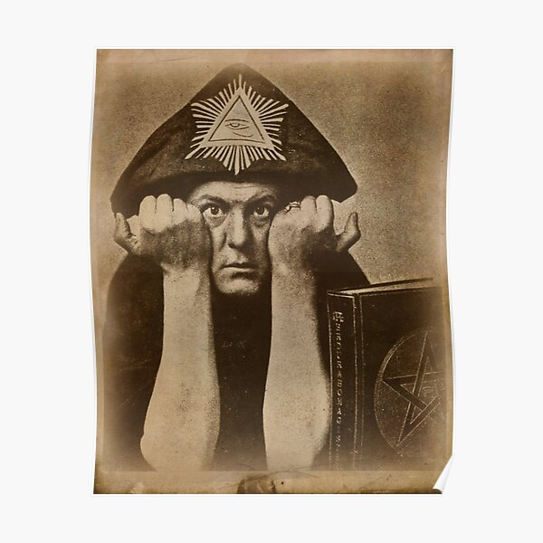 Aleister Crowley occultist with magick book Poster