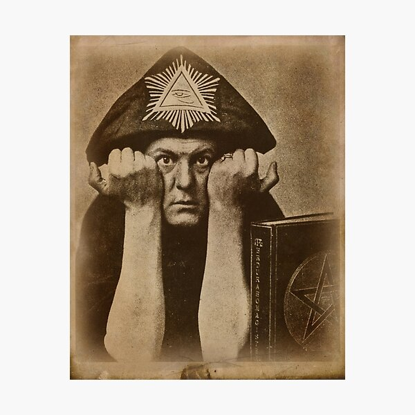 Aleister Crowley occultist with magick book Photographic Print