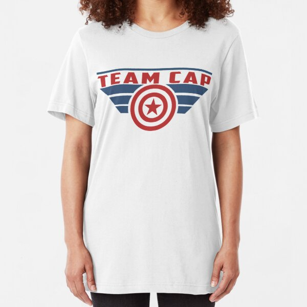PLEASE SUPPORT TEAM CAP Slim Fit T-Shirt