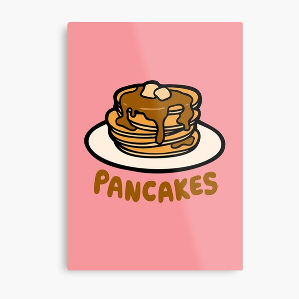 Pancakes with Butter and Syrup Pattern on Pink Metal Print