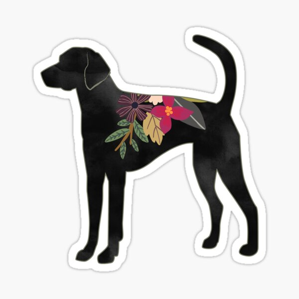 American Foxhound Dog Breed Bohemian Floral Silhouette Sticker