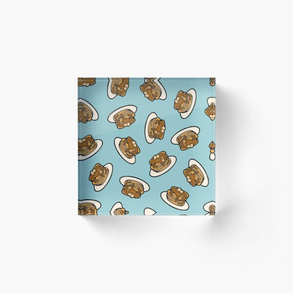 Pancakes with Butter and Syrup Pattern on Blue Acrylic Block