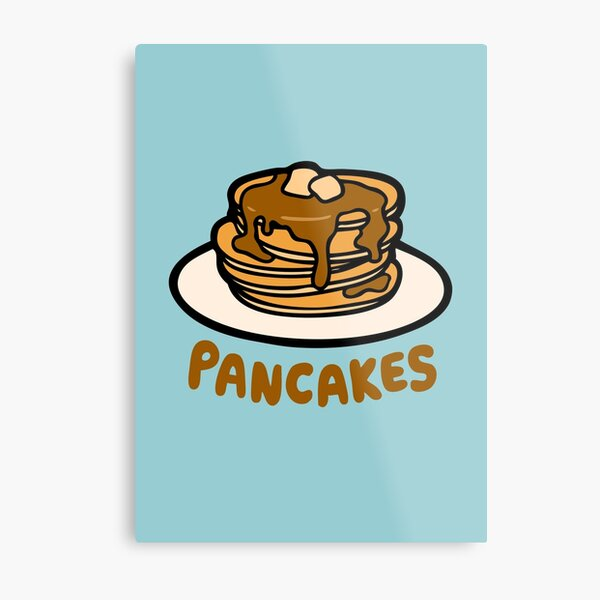 Pancakes with Butter and Syrup Pattern on Blue Metal Print