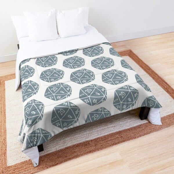 Grey/Blue D20 dice  Comforter