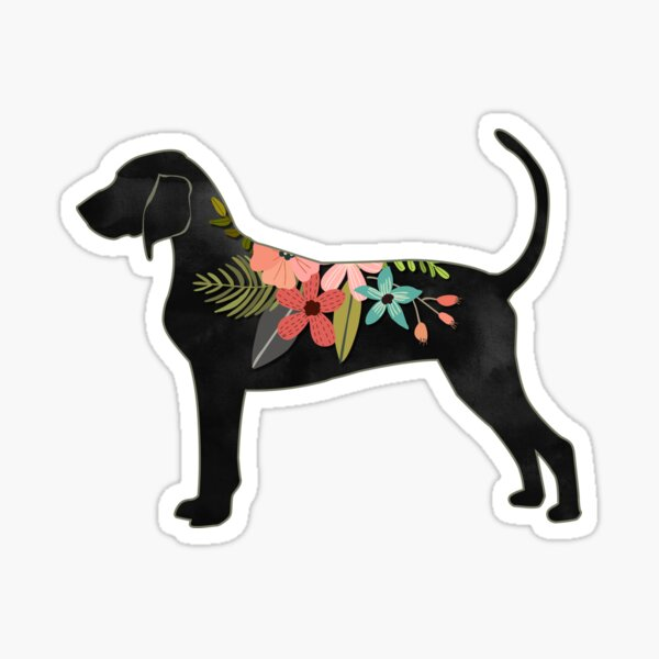 Bluetick Coonhound Dog Breed Bohemian Floral Silhouette Sticker