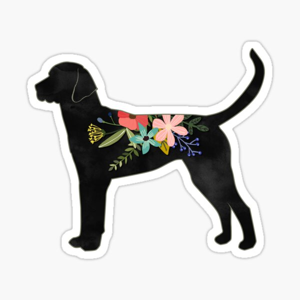 English Foxhound Dog Breed Bohemian Floral Silhouette Sticker