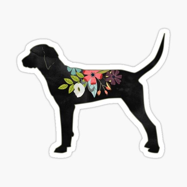 Redbone Coonhound Dog Breed Bohemian Floral Silhouette Sticker