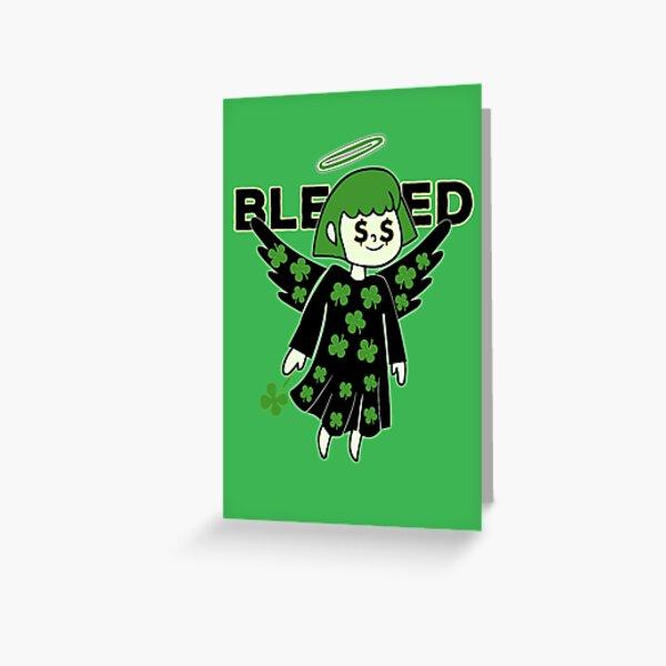 Lucky Clover Blessed Angel - Good Luck Charm Greeting Card