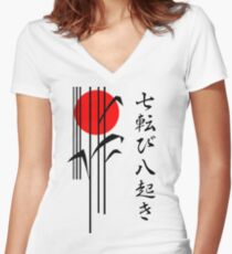 Japan - Fall Seven Times Stand Up Eight Women's Fitted V-Neck T-Shirt