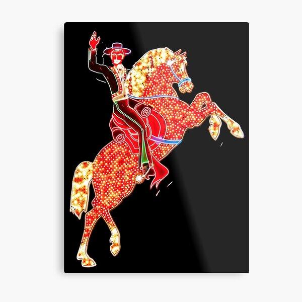 Hacienda Horse and Rider Neon Sign, Las Vegas Metal Print