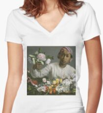 Frederic Bazille - Young Woman With Peonies Women's Fitted V-Neck T-Shirt