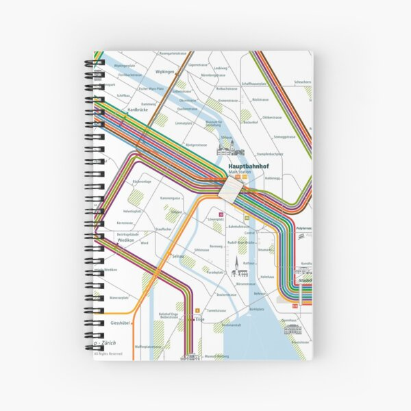 Zurich City Rail Map Square Spiral Notebook