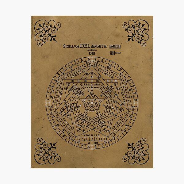 Sigillum Dei Aemeth, Sigil of Ameth occult symbol Photographic Print