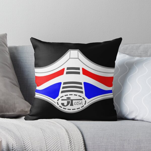 Race Face Mask Retro Motocross Face Guard Style - Red, White & Blue Throw Pillow