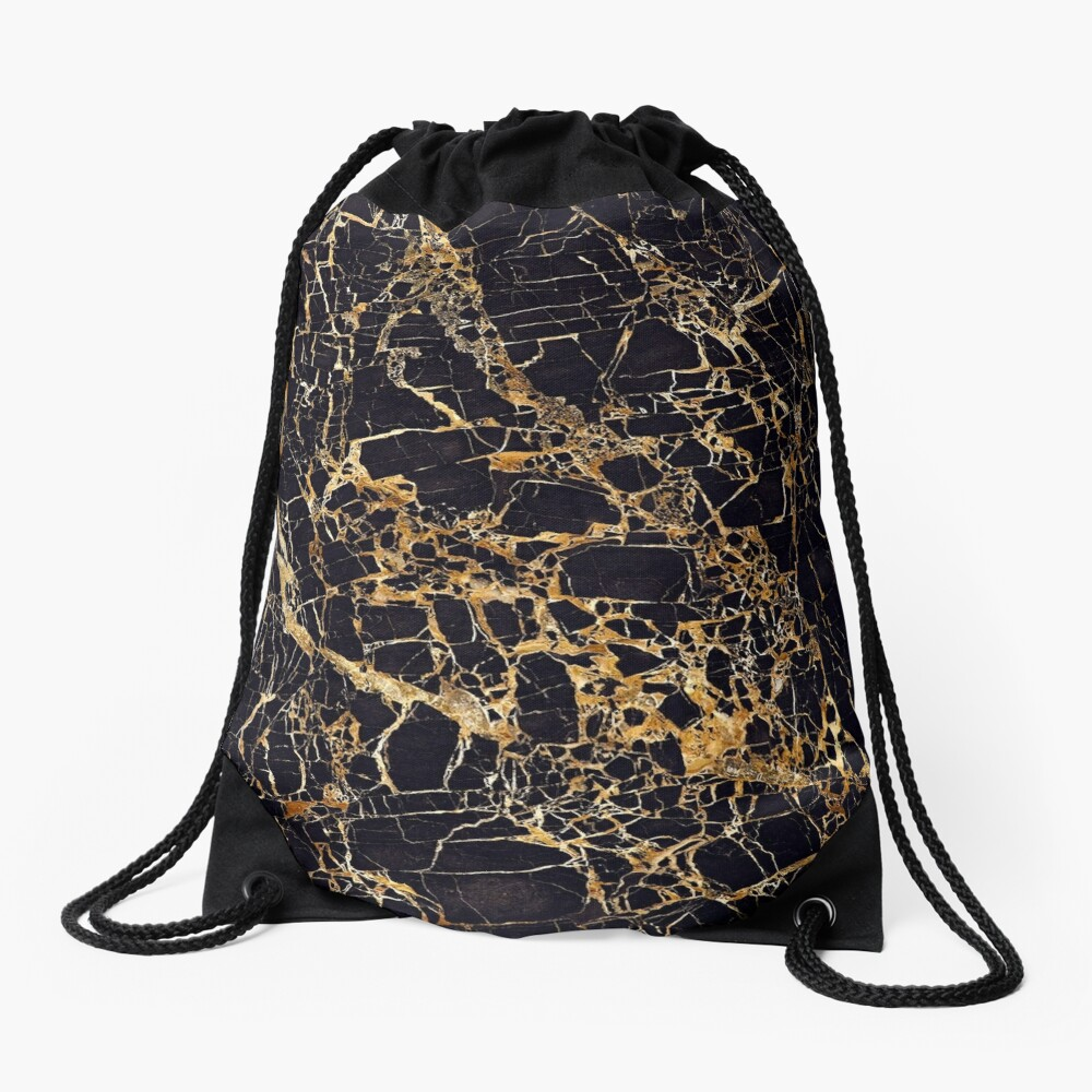 Black and Gold Marble - Gold Veined Drawstring Bag