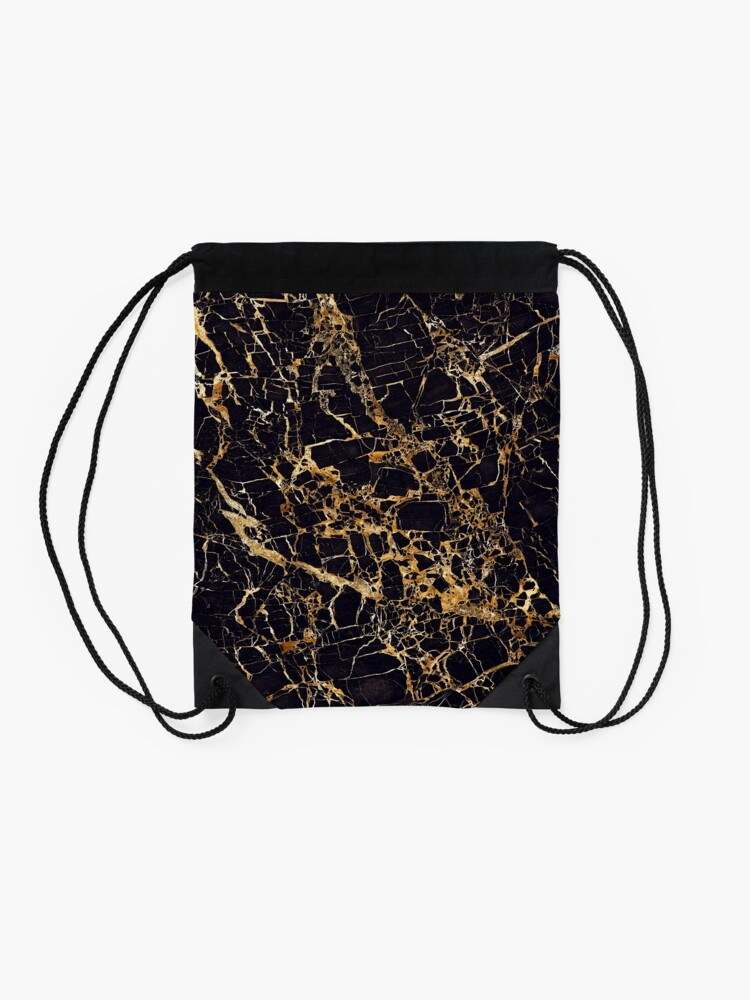 Alternate view of Black and Gold Marble - Gold Veined Drawstring Bag