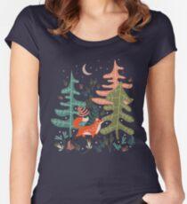 Immergrüne Fox Tale Tailliertes Rundhals-Shirt