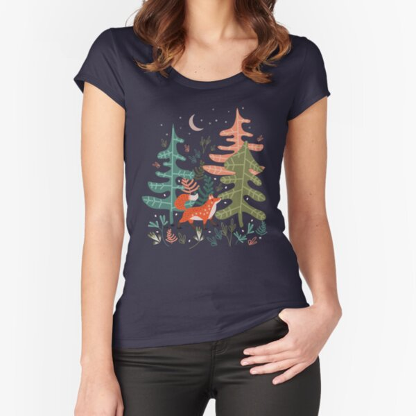 Evergreen Fox Tale Fitted Scoop T-Shirt