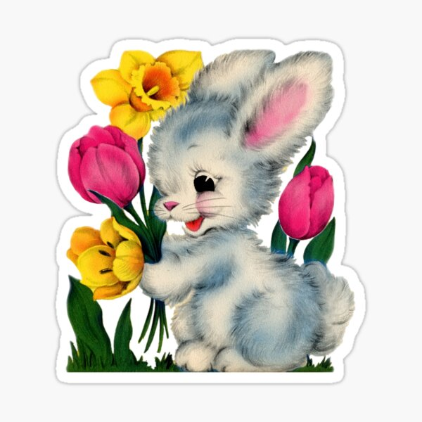 Spring Bunnies 2 Watercolor little animals and floral clipart Easter country nice forest cute nursery art baby shower wreath rabbit