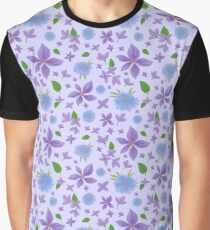Hand Painted Blue And Purple Flowers Background Graphic T-Shirt